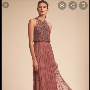 BHLDN Dress, Ostrich feather shrug, and shoes